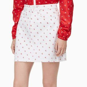Calvin Klein White and Red Monogram Mini Skirt 29
